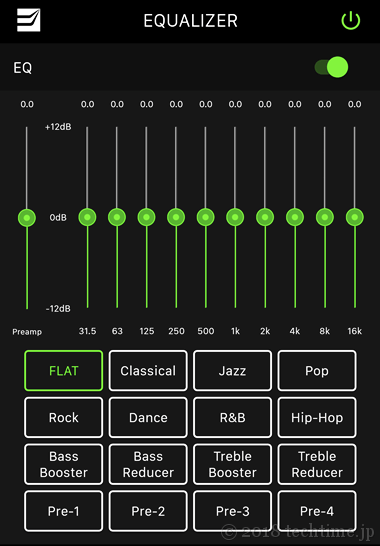 RADSONE Earstudio ES100アプリ[equalizer(イコライザー)]画面