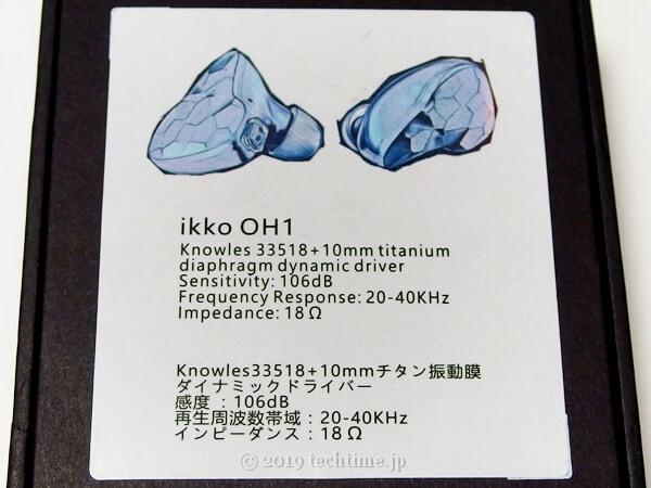 IKKO OH1の外箱裏面の拡大画像