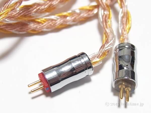 16芯銀メッキ+高純度銅ミックスケーブル『NICEHCK C16-2』の2pinコネクターの白背景画像