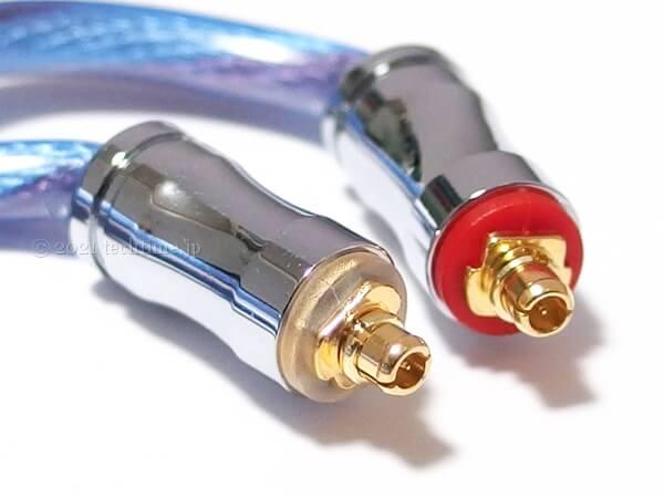 2芯銀メッキ銅&5N単結晶銅ミックスケーブル『NICEHCK BlueIsland』のmmcxコネクターの白背景画像
