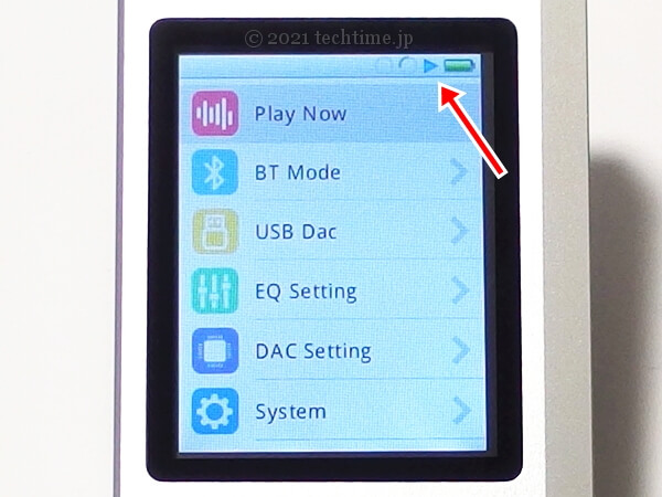 Zishan Z4の画面上部バーの表示を示した画像